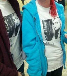 Fans Lizzi and Julia wore their Sarah Barrios T-shirts to school! How wicked!! :)