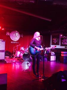 Peforming at a charity event for Breast Cancer Awareness at The Hard Rock Cafe in Boston